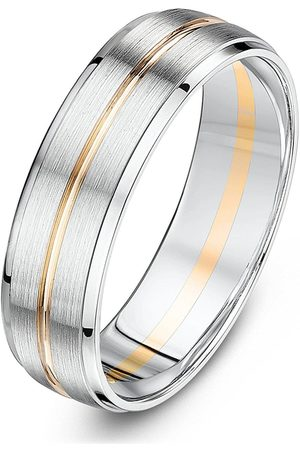 Love GOLD 9Ct White Gold And Rose Gold 6Mm Matt And Polished Groove Band