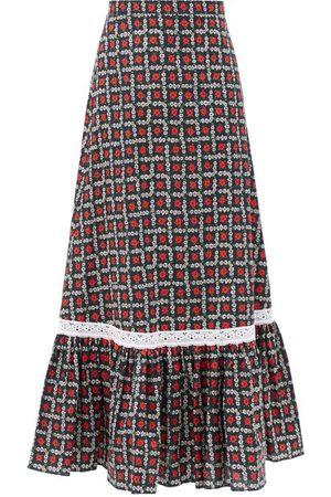 Miu Miu Floral-print Tiered Cotton Midi Skirt - Womens - Print
