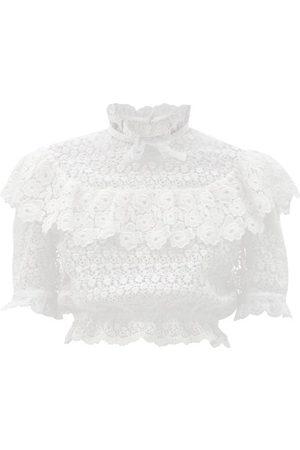 Miu Miu Women Blouses - Ruffled Cotton-blend Lace Blouse - Womens