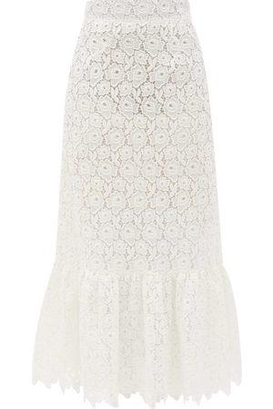 Miu Miu Tiered Cotton-blend Lace Midi Skirt - Womens