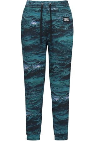 Burberry Men Trousers - Printed Cotton Jersey Sweatpants W/ Tape