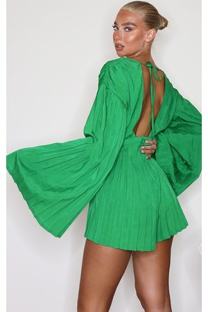 PRETTYLITTLETHING Plunge Pleated Playsuit
