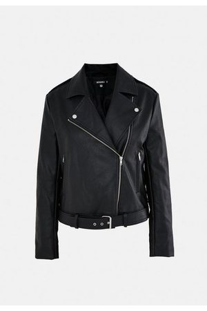 Missguided Women Leather Jackets - Faux Leather Boxy Biker Jacket