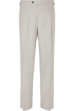 Saman Amel Wide-Leg Pleated Linen Trousers