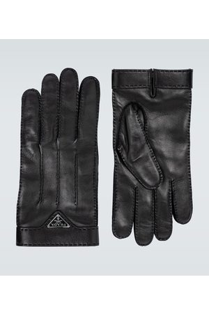 Prada Leather gloves with logo
