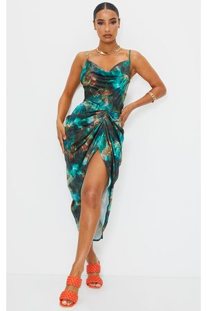 PRETTYLITTLETHING Print Satin Strappy Cowl Neck Side Gathered Midi Dress