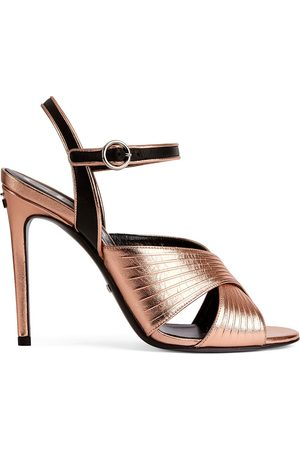 Gucci Metallic-finish cross-strap 104mm sandals