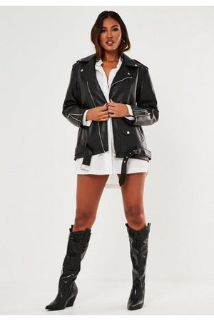 Missguided Faux Leather Long Biker Jacket