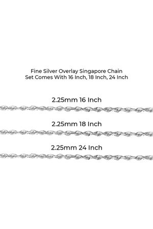 SuperJeweler Fine Overlay Singapore Chain NecklaceSet Comes w/ 16 Inch, 18 Inch, 24 Inch