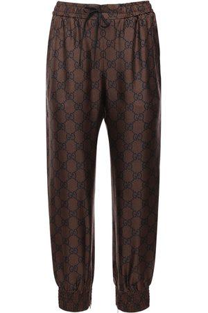 Gucci Gg Supreme Print Silk Twill Sweatpants