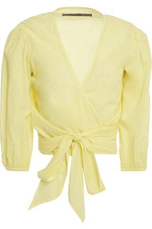 ENZA COSTA Woman Gathered Cotton-mousseline Wrap Top Pastel Size 0