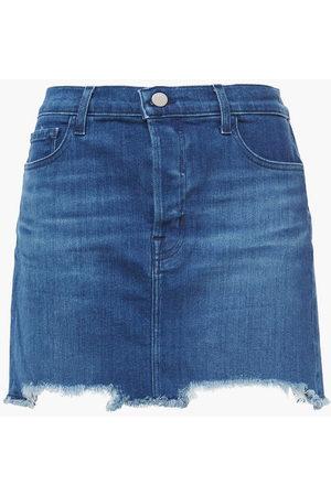 J Brand Woman Bonny Frayed Faded Denim Mini Skirt Mid Denim Size 24