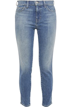 Current/Elliott Woman The Caballo Cropped Faded Mid-rise Skinny Jeans Mid Denim Size 28