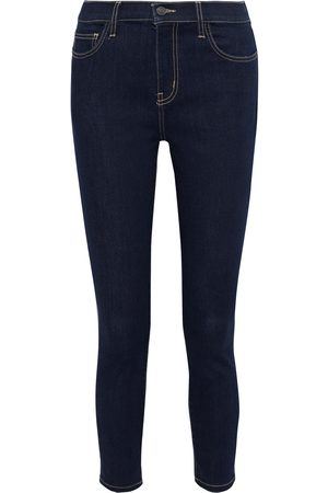 Current/Elliott Woman The Stiletto Cropped High-rise Skinny Jeans Dark Denim Size 32