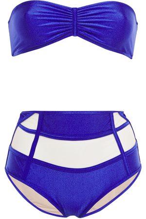 Adriana Degreas Woman Cutout Gathered Tulle-paneled Bandeau Bikini Royal Size L