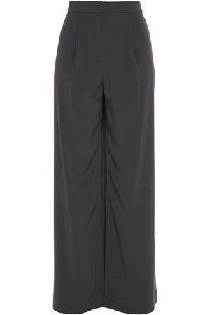 CO Woman Satin-crepe Wide-leg Pants Dark Gray Size L