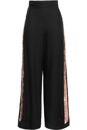 TEMPERLEY LONDON Woman Sycamore Sequin-trimmed Twill Wide-leg Pants Size 10