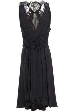 VICTORIA BECKHAM Woman Asymmetric Lace-paneled Crepe De Chine Dress Size 12