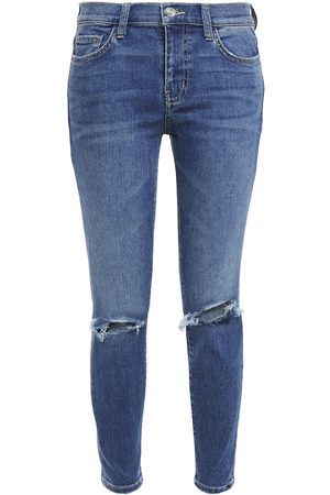 Current/Elliott Woman The Stiletto Cropped Distressed Mid-rise Skinny Jeans Mid Denim Size 32