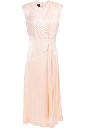 CÉDRIC CHARLIER Woman Pleated Satin Midi Dress Blush Size 38