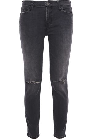Current/Elliott Woman Distressed Mid-rise Skinny Jeans Charcoal Size 28