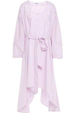 Each x Other Woman Asymmetric Belted Poplin Dress Lilac Size L