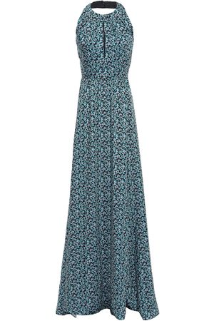 LELA ROSE Woman Pleated Printed Twill Halterneck Gown Turquoise Size 2