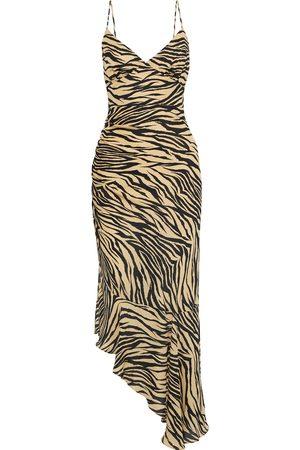 Nicholas Woman Asymmetric Ruched Printed Silk-chiffon Midi Slip Dress Animal Print Size 0