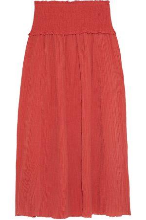 ZIMMERMANN Woman Veneto Shirred Ramie And Cotton-blend Gauze Maxi Skirt Brick Size 1