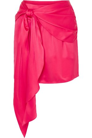 Michelle Mason Women Mini Skirts - Woman Draped Silk-charmeuse Mini Skirt Fuchsia Size 8