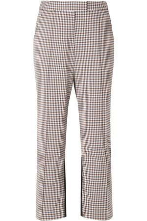 Rosie Assoulin Woman The Scrunchy Checked Stretch-wool Blend And Twill Flared Pants Size 2