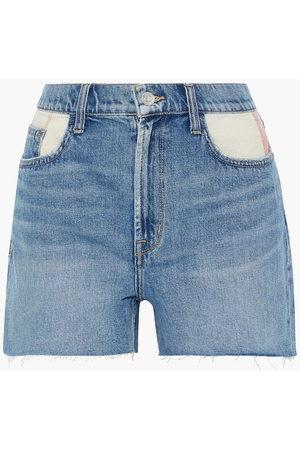 Current/Elliott Woman The Aficionado Canvas-paneled Denim Shorts Mid Denim Size 23