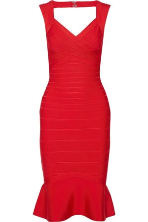 Hervé Léger Hervé Léger Woman Fluted Cutout Bandage Dress Papaya Size M