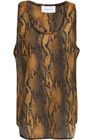 Current/Elliott Woman Snake-print Cotton And Silk-blend Voile Tank Animal Print Size 1