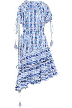DODO BAR OR Woman Asymmetric Off-the-shoulder Embroidered Checked Cotton-gauze Dress Size M