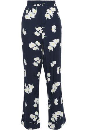 Ganni Woman Floral-print Crepe Straight-leg Pants Navy Size 34