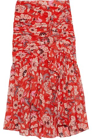 Cinq A Sept Woman Kathleen Ruched Floral-print Georgette Skirt Tomato Size 12