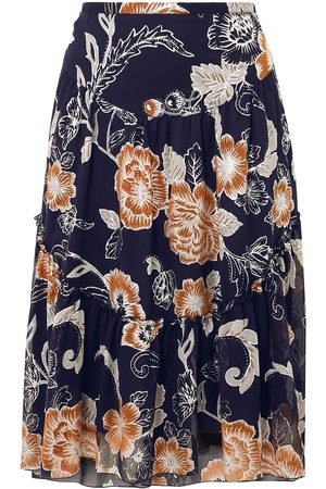 See by Chloé See By Chloé Woman Floral-print Silk And Cotton-blend Crepon Skirt Midnight Size 36