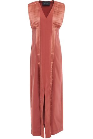 CÉDRIC CHARLIER Woman Pintucked Satin-paneled Crepe Maxi Dress Antique Rose Size 38