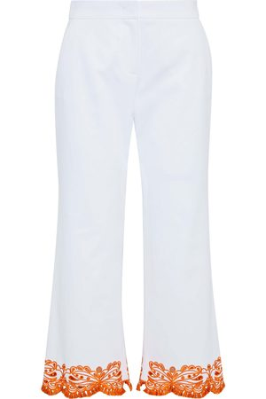 Emilio Pucci Woman Cropped Broderie Anglaise-trimmed Cotton-blend Twill Wide-leg Pants Size 38