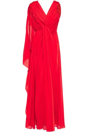 Lanvin Woman Ruched Draped Silk-crepe Gown Tomato Size 34
