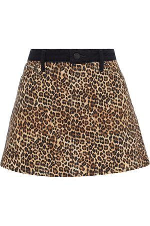 ALICE+OLIVIA Woman Good Paneled Leopard-print Denim Mini Skirt Animal Print Size 25