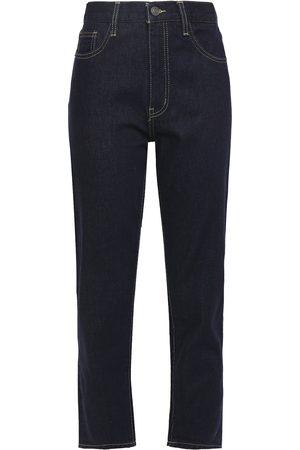 Current/Elliott Woman The Vintage Cropped High-rise Slim-leg Jeans Dark Denim Size 24
