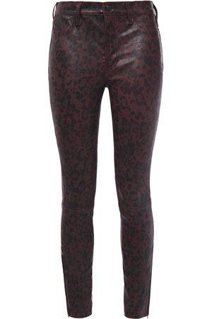 J Brand Woman L8001 Leopard-print Stretch-leather Skinny Pants Animal Print Size 28