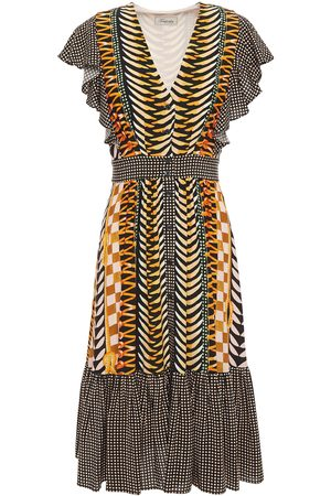 TEMPERLEY LONDON Women Printed Dresses - Woman Sweetpea Ruffled Printed Crepe Dress Saffron Size 8