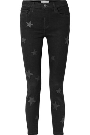 Current/Elliott Woman The Stiletto Printed High-rise Skinny Jeans Charcoal Size 23