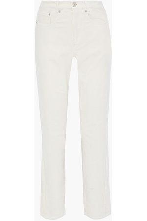 pushBUTTON Woman Stretch-cotton Corduroy Straight-leg Pants Ivory Size XS