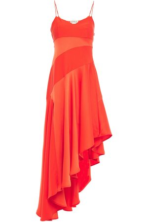 Nicholas Woman Asymmetric Paneled Satin-crepe Dress Bright Size 0