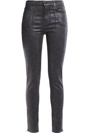 J Brand Women Skinny - Woman Coated Snake-print High-rise Skinny Jeans Dark Gray Size 26