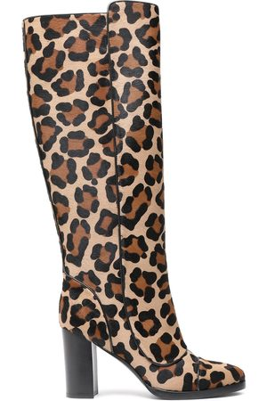 Michael Kors Woman Leopard-print Calf Hair Boots Sand Size 36